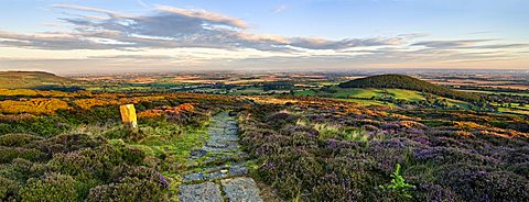 The sun rises over the Cleveland Way and Whorl Hill near Faceby, North Yorkshire Moors, Yorkshire, England, United Kingdom, Europe