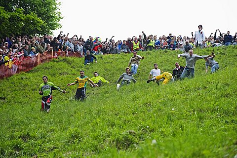 Cheese Rolling Festival at Coopers Hill, Gloucestershire, England, United Kingdom, Europe