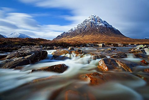 Buachaille Etive Mor and the River Coupall at the head of Glen Etive, Glen Coe end of Rannoch Moor, The Scottish Highlands, Scotland, UK, GB, EU, Europe, (long exposure)