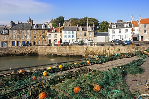 Drying nets by the harbour at Pittenweem, Fife, Scotland, United Kingdom, Europe