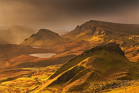 Spectacular winter light over the Trotternish Range from the Quiraing in the Isle of Skye, Inner Hebrides, Scotland, United Kingdom, Europe