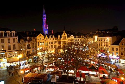 Christmas fair in the evening, Brussels, Brabant, Belgium