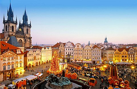 Czech Republic, Prague, Old Town Square, Christmas Market, Aerial, Buildings, Christmas, City, Cityscape, Europe, Exte. Czech Republic, Prague, Old Town Square, Christmas Market, Aerial, Buildings, Christmas, City, Cityscape, Europe, Exte