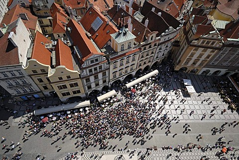 Tourist crowds as seen from the Old Town Hall, Praque, Czech Republic, Europe