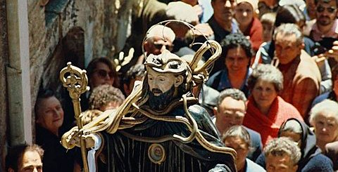 Statue carried in a parade during the Festival of Snakes in Abruzzo, Italy, Europe