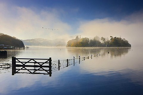 Misty morning on the shores of Derwent Water in autumn, Lake District National Park, Cumbria, England, United Kingdom, Europe
