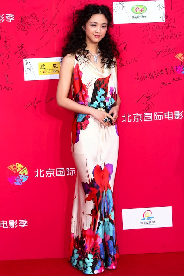 Chinese actress Tang Wei chose to wear a Roberto Cavalli gown to attend the first Beijing International Film Festival, held Saturday April 23, 2011 in Beijing.