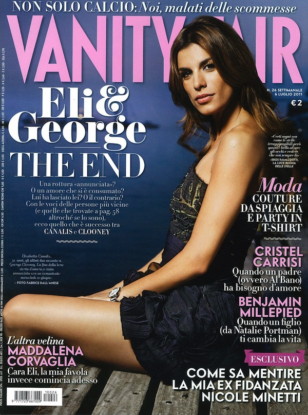 Elisabetta Canalis in Roberto Cavalli on the cover of Vanity Fair Italy
