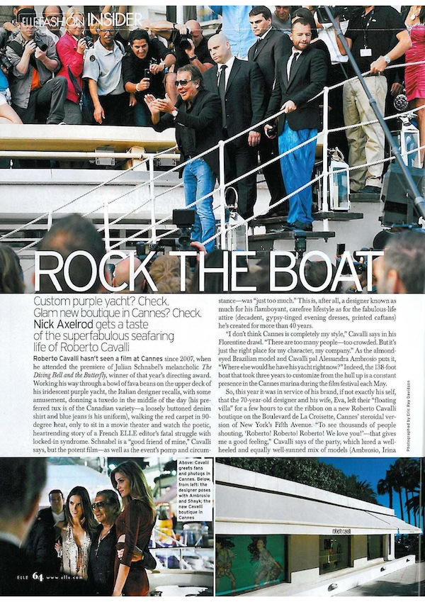 Roberto Cavalli Rock the Boat on Elle Usa August 2011