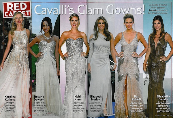 Celebrities in Roberto Cavalli in US Weekly