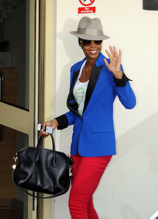 Kelly Rowland arriving at the X Factor UK studios wearing a t-shirt from the Roberto Cavalli Gym collection and a Just Cavalli blazer.