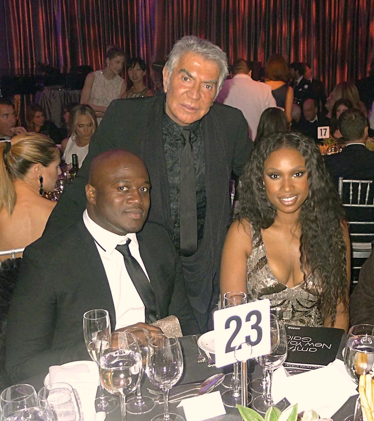 Roberto Cavalli with Jennifer Hudson and David Otunga - amfAR 2012
