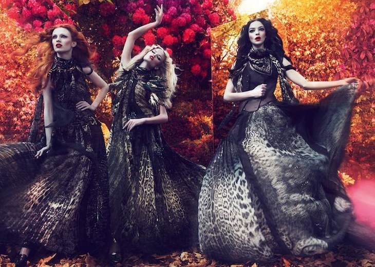 The Roberto Cavalli Fall/Winter 2011-2012 advertising campaign stars Mariacarla Boscono, Natasha Poly and Karen Elson.