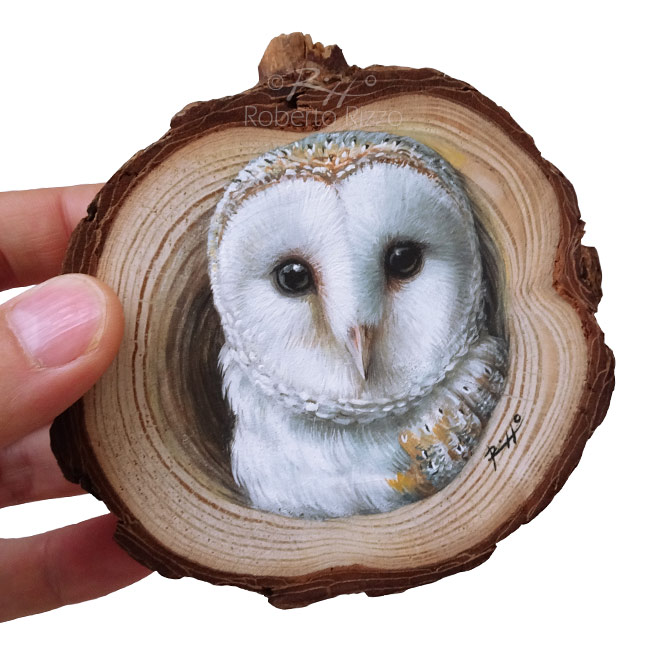 Barn Owls Lair  A Wood Slice Owl Painting to Decorate your Home