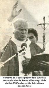 Juan Pablo II en argentina Misa de Ramos eucaristia