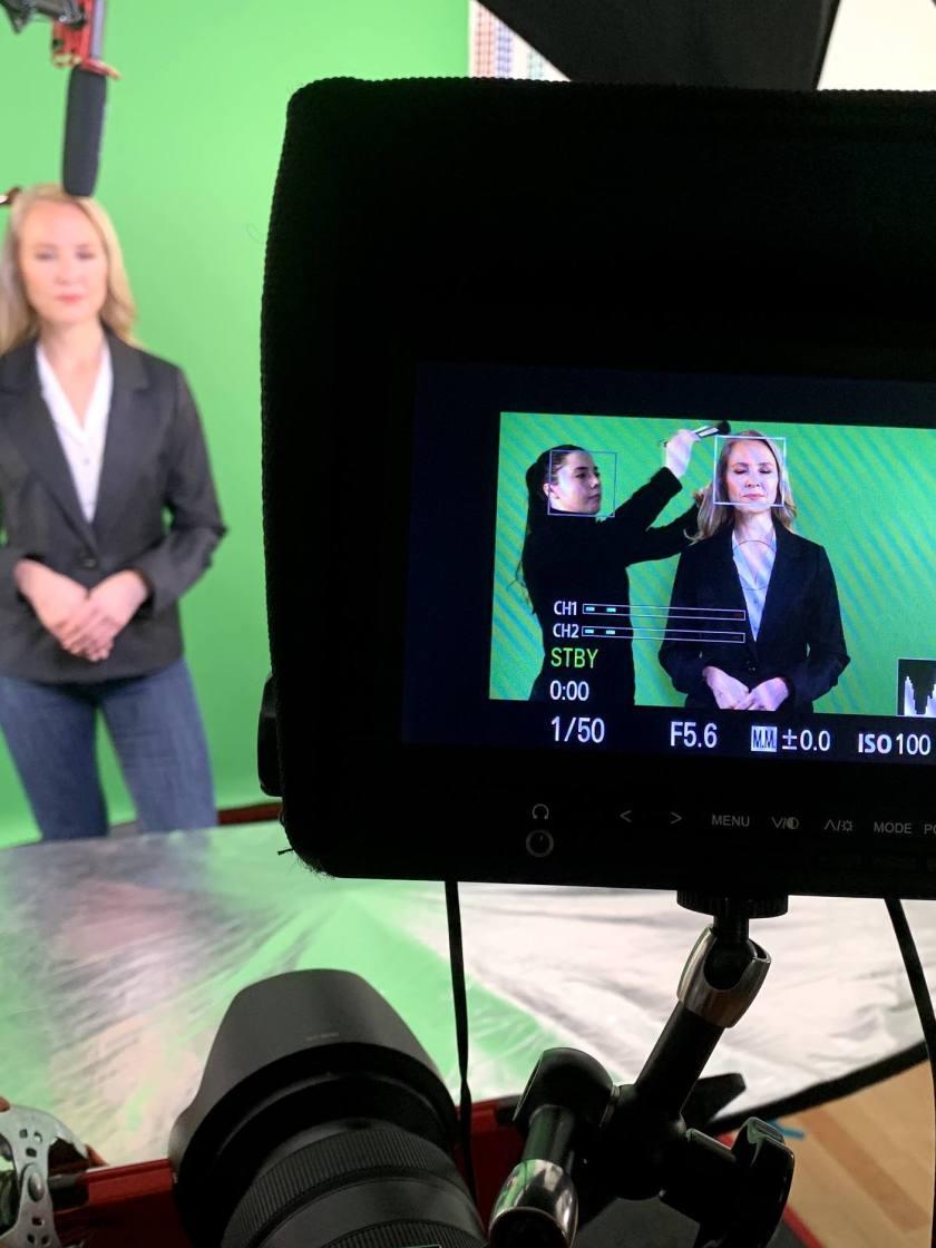 Green screen studio video interview
