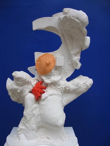 Kopstuk, beeld, beelden, sculptuur, gevonden voorwerpen, Robert Pennekamp, paspop, pop, hout, gezicht, gezicht, kop, 355, robert, pennekamp, onderste boven,
