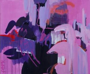 schilderij, schilderijen, victory, winnen, robert pennekamp,, mejiro gym, kickboksen, K-1, wereld kampioenen, 684, roze, paars, wit, abstract, olieverf