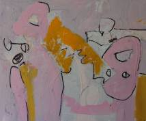 schilderij, hete tenen, mooie, benen, 716, olieverf, robert, linnen, pennekamp, roze, geel, mond, figuratief, liefde, sexy, bijten, model, lekker, fijn