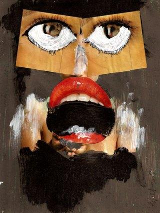 collage, gezicht, vrouw, sticker, streetart, tand, hand, bek, robert, pennekamp, mond, lippenstift, oog,
