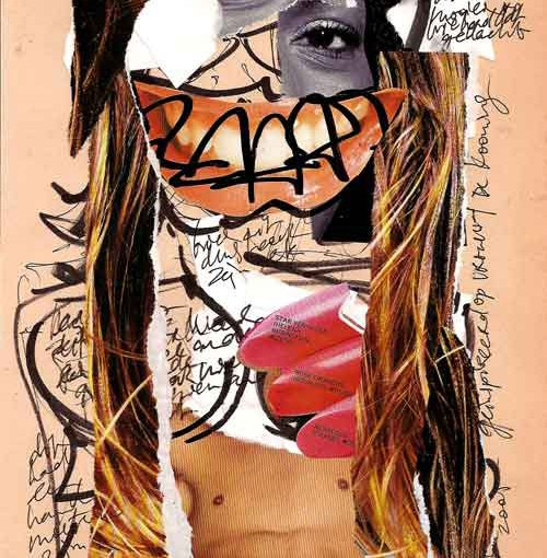 Collage, nr 1, Robert Pennekamp, A4 formaat, 20 * 30 cm, 2005, Gemengde technieken, papier, babe, model, tekst, lippestift, oog
