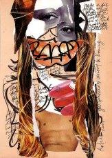 Collage, nr 1, Robert Pennekamp, A4 formaat, 20 * 30 cm, 2005, Gemengde technieken, papier, babe, model, tekst, lippestift, oog