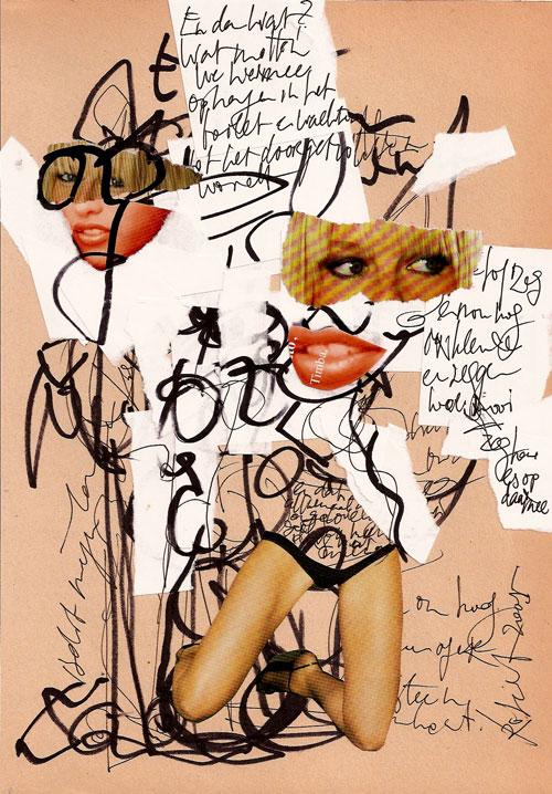 collage 3, Robert Pennekamp, A4 formaat, 2005, babe, model, tekst, benen, chantal janzen, glitter, glamour, catwalks, sexy