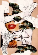collage, 4, Robert Pennekamp, A4 formaat, 2005, babe, model, tekst, lippestift, oog, ogen