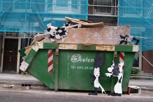 strip, cartoon, grof afval, container, sloop, vuilnis, bouwafval, puin afval, groen afval, stenen, hout, bouw, robert, pennekamp