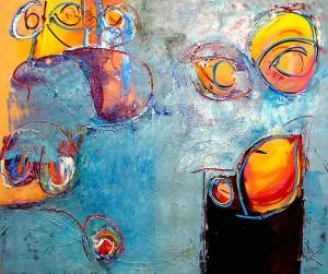 Zeker Geloven, zeker, geloof, olieverf, linnen, Robert Pennekamp, 2006, schilderij, blauw, abstract, figuratief, ogen, gezicht, lichaam, structuur, mooi