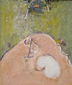 schilderij, robert, pennekamp, vechtende , berg, vechtende berg, 630, robert pennekamp, doek, structuur, verf, olieverf, dik, gezicht, ogen, roze, groen,