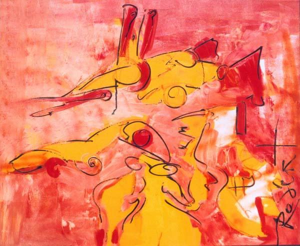 gesprek van de dag aarde, kleuren, rood, oranje, roze, geel, abstract, figuratief, schilderij, robert, pennekamp, robert pennekamp, gesprek, dag, dagelijks