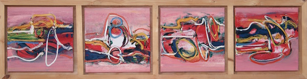 abstract, roze, expressief, leuk, mooi, robert pennekamp, robert, pennekamp, schilderij, painting, dancing, oil, canvas, rood, red, rose, 232, 4 luik