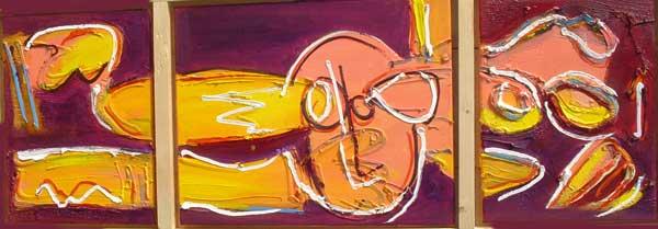 Doorzetten, conferentie formaat, conferentie, vergaderen, tafel , langwerpig, Robert, Pennekamp, Robert Pennekamp, olieverf, linnen, painting, oil, schilderij, 244, oranje, rood, geel, roze, gemengde technieken