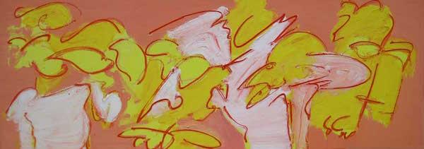 Schooiers, conferentie formaat, conferentie, vergaderen, tafel , langwerpig, Robert, Pennekamp, Robert Pennekamp, olieverf, linnen, painting, oil, schilderij, 255, oranje, rood, geel, roze, gemengde technieken