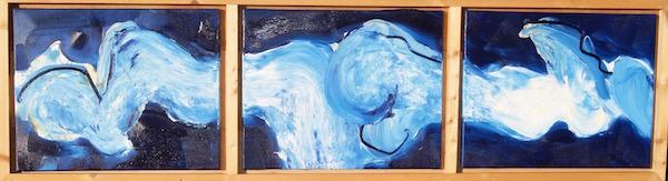 abstract, blauw, licht blauw, golfen, expressief, robert pennekamp, robert, pennekamp, schilderij, painting, oil, canvas, streepertjes, 270, lekker golfen, 3 luik, conferentie