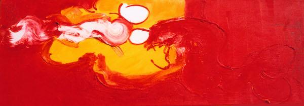Mooie Ogen, conferentie formaat, conferentie, vergaderen, tafel, langwerpig, Robert, Pennekamp, Robert Pennekamp, olieverf, linnen, painting, oil, schilderij, 276, oranje, rood, geel, roze, gemengde technieken