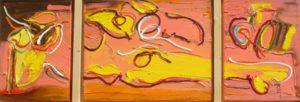 243, krachtig, robert pennekamp, olieverf, art, painting, kleurig, kleurrijk, cobra, gezicht, geel, 3 luik, zonnig, leven, krachtig, vrolijk, contemporary art, doek,
