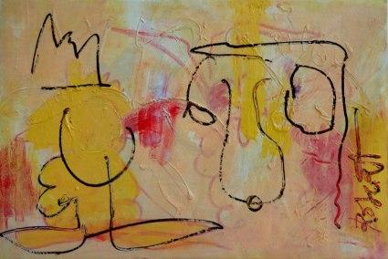 Lusthof, Robert Pennekamp, 70 x 50 cm, olieverf, polyester doek, 2003, dynamisch, abstract, figuratief, lust, neus, kroon, koning, geel, cobra