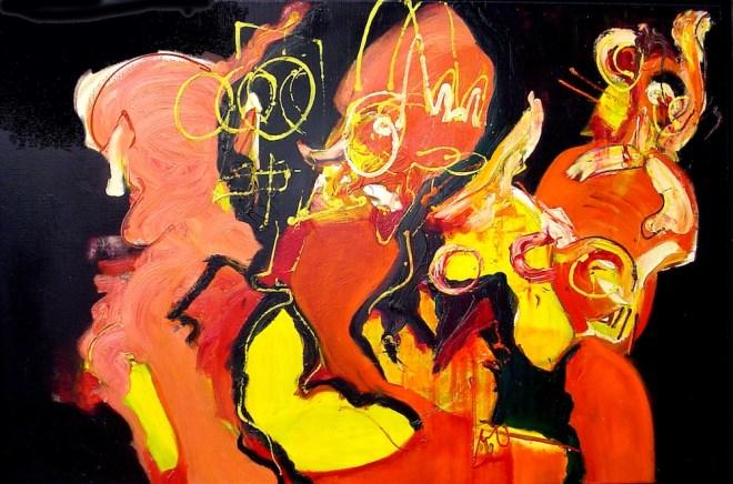 Chaos, 182, Robert pennekamp, schilderij, painting, abstract, expressief, expressive, orange, red, black, people, cobra, olieverf, doek, linnen, geweldig, mooi,