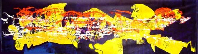 mega, groot, groter, lang, langwerpig, conferentieformaat, schilderij, doek, aankleding, billboard, banier, polyester, abstract, figuratief, streefart, gemengde technieken, wild, expressief, kleurrijk, robert, pennekamp,