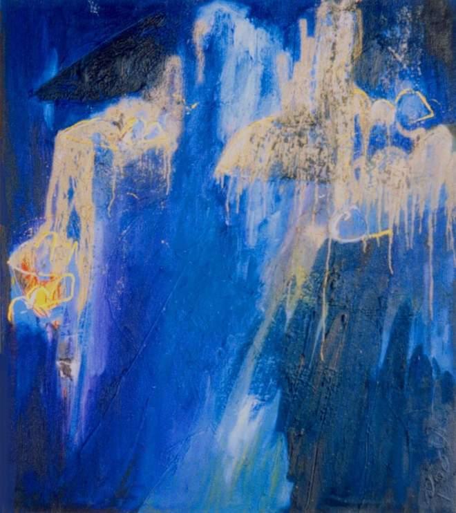 schilderij, kunst, kunstwerk, olieverf, abstract, expressief, kleuren, blauw, voor, jou, wild, wilder, gaaf, mooi, leuk, bijzonder, bank, prijs, winnaar, beste, kunstbeurs, moderne kunst, robert, pennekamp, blauw voor jou, 127