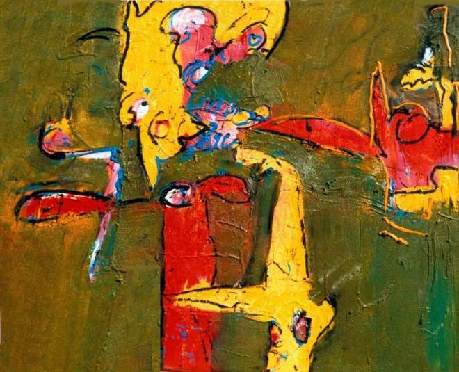 wachten, wachte, 132, geel, groen, strip, schilderij, figuratief, petjes, hoeden, kleding, robert, pennekamp, kunstenaar, amsterdam, olieverf, structuur, doek, linnen, galerie, beste