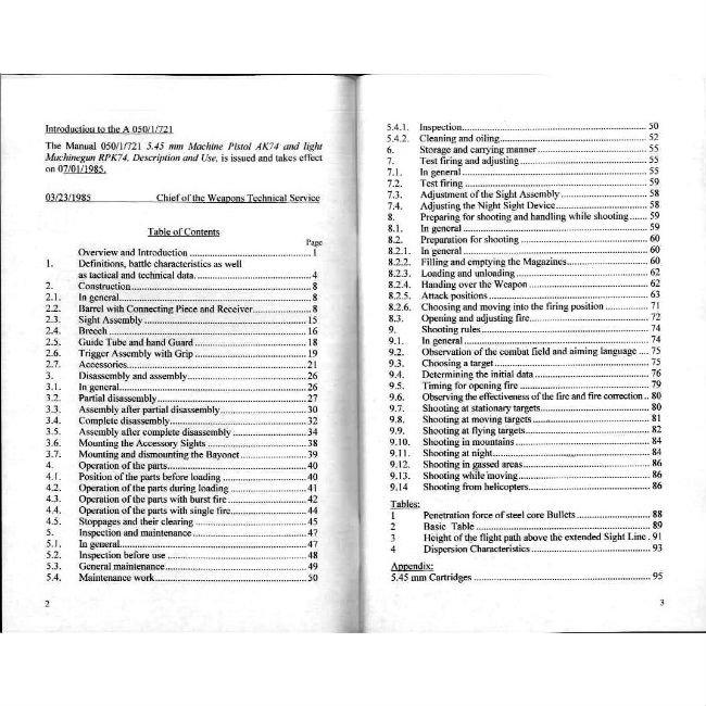 AK74 5.45mm Operator Manual, English Translation of East