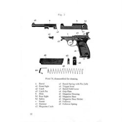 Walther P38 WWII Manual in English, German Army Issue, LIB
