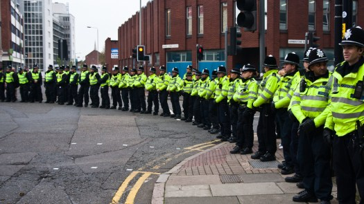 Police prepare for an EDL march in Leicester. Photo by robotswanking on Flickr