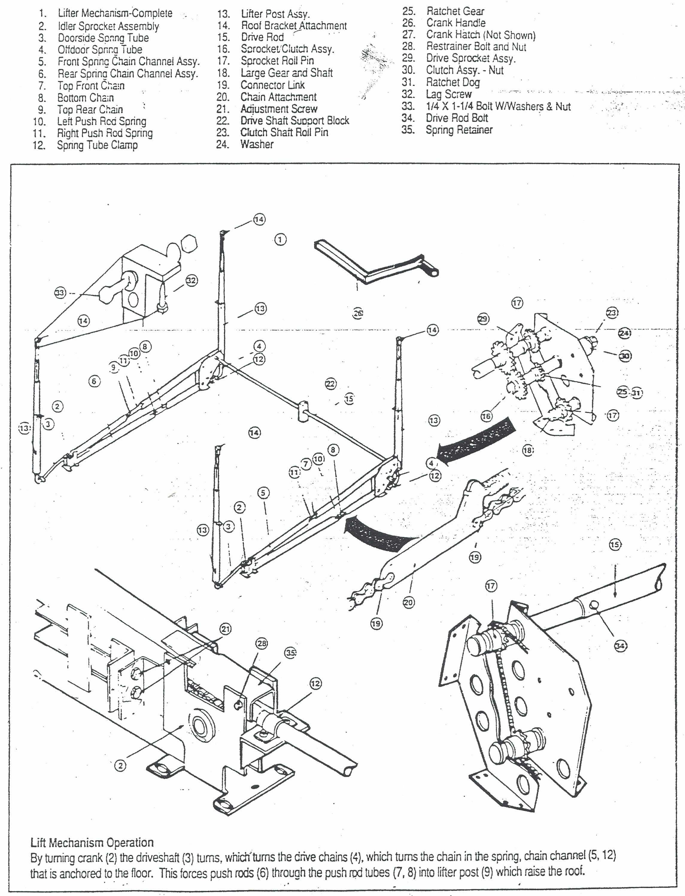 Goshen Lift System Diagram Coleman Pop Up Parts Diagram