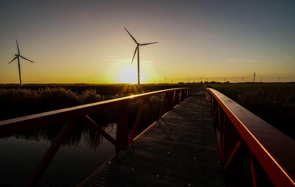 Windmolens Zuidlob, Zeewolde, zonsondergang