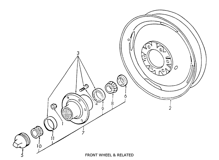 Ford 2N, 8N, 9N Front Wheel & Related Parts List