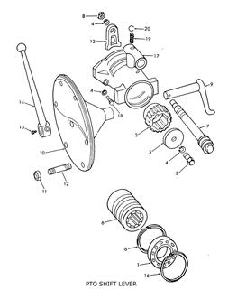 Ford 9N 2N 8N PTO Shift Lever, Fork & Related